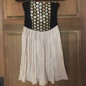 Rachel Roy Black and Gold Strapless Dress